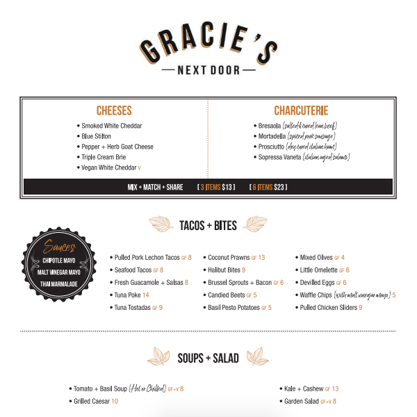 Gracie's Next Door Menu